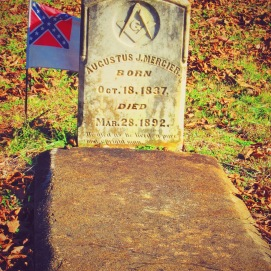 One of the last owners of what is now Kolomoki Mounds was a Freemason and a slave owner of some of my ancestors. Someone continues to plant the 3rd flag of the confederacy on his grave. The third flag was adopted right before the confederacy fell to lessen the blue colors associated with the North and to represent southern white American ancestral ties to France and Britain - the blue cross like the flag of England the the red bar on the end of the flag hailing France