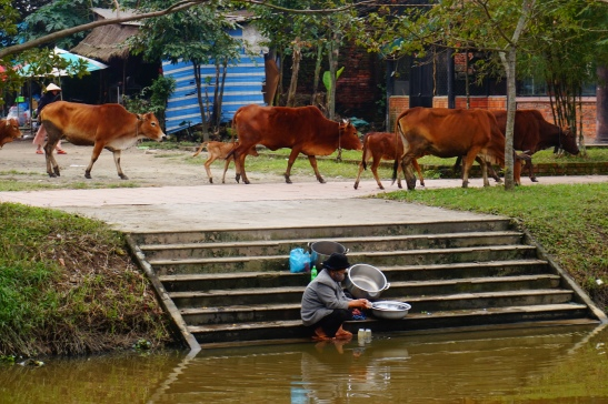 Woman washing up outside of Hue morning market