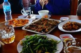 Lunch: mussels, morning glory, clams, prawns, omelets, rice, stir fried pork, chicken soup, and beer.